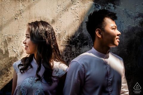 Portrait de fiançailles d'un couple chinois avant le mariage | Lumière et ombres