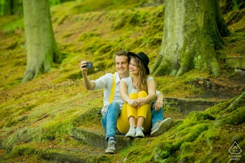 Zuid Holland wedding engagement photos in the green forest for Netherlands couples