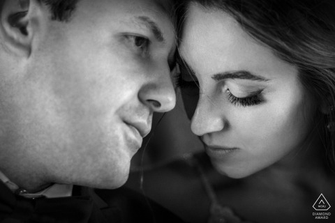 Tightly shot engagement images of a couple's faces in black and white | Armenia photographer pre-wedding session for portraits