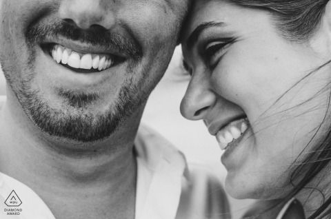 Tight shot in black and white | engagement images of a couple's faces | Puerto Vallarta photographer pre-wedding session for portraits