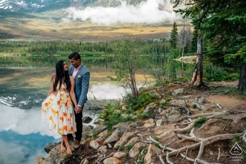Alberta pictures of a couple by a top Canadian wedding engagement photographer