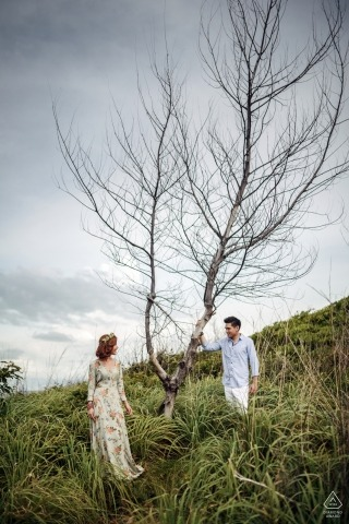 Engaged Lovers and a dead tree | Bangkok Thailand Wedding Photography