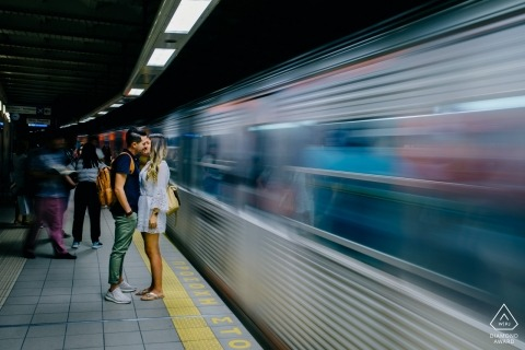 Subway engagement portraits of a couple at train station | Athens photographer pre-wedding photographer pictures