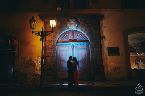Prague by night engagement photography of a couple in love