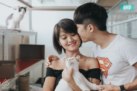 Singapore pre-wedding engagement pictures of a couple with a young cat  | couple photography session