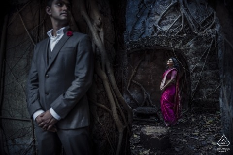 India couple shoot for their pre-wedding engagement portraits