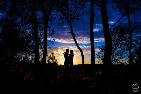 Utrecht pre-wedding engagement photography at sunset in the trees - Netherlands photographers