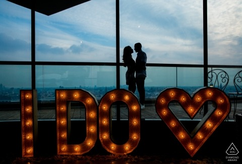 Netherlands pre-wedding engagement pictures of a couple with I DO sign  | Zuid Holland portrait shoot