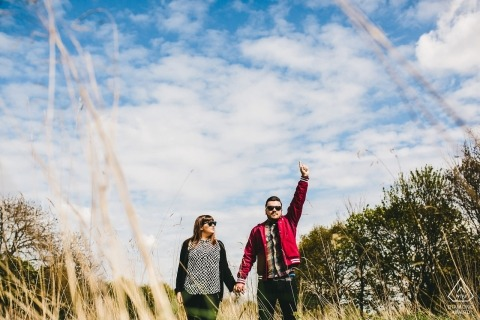 UK wedding photographer engagement portrait of a couple on a walk in the country  | Northampshire pre-wedding pictures