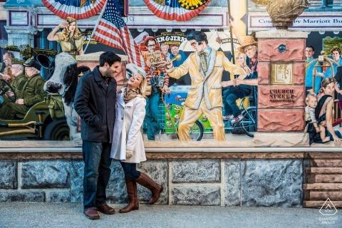 Mural of Elvis overlooks engaged couple in Burlington | VT portrait session for engagement