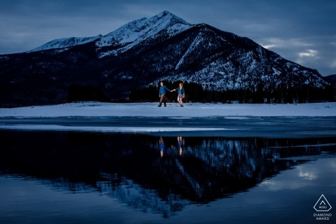 Peak One in the background of this portrait of a couple | Summit County Engagement Photography
