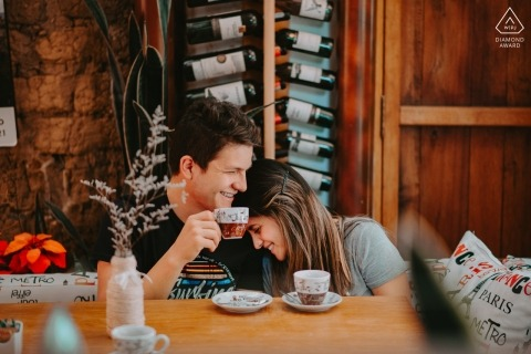 Pre wedding photographer in Colombia made this portrait of a couple sharing tea/coffee | Villa de Leyva photography