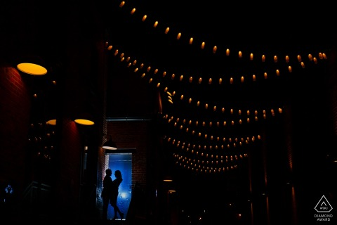 Colorado couple share a moment together at The Dairy Block in downtown Denver during their engagement photo session.