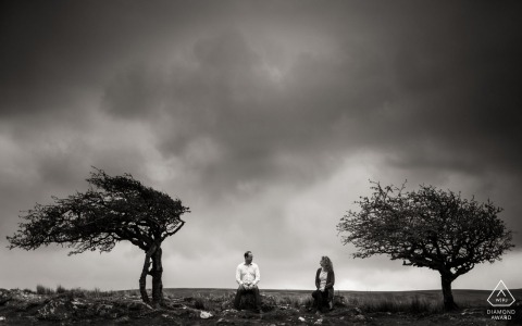 Black and White England wedding engagement pictures by a Dorset photographer