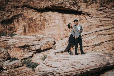 Sacramento, California Wedding Engagement Photo on the Rocky Cliffs