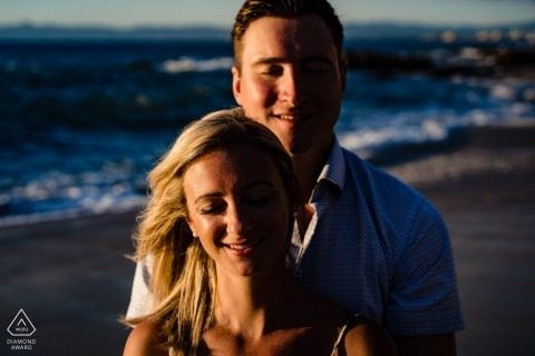Beach pre-wedding engagement photography for MA couples