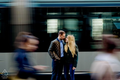 Athens pre-wedding portrait photography session with a couple next to the train  | Attica photography