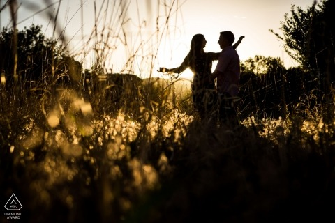 Sedona couple during engagement photo session by award winning Arizona wedding photographer