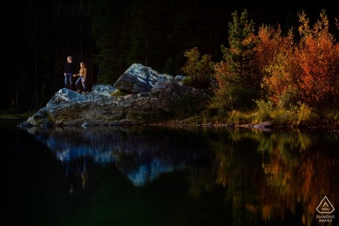 Colorado Fall Colors Engagement Shoot in the Trees by the Lake