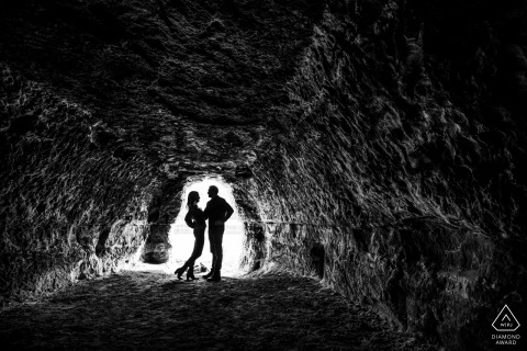Cave silhouette engagement photography of a couple in Minneapolis