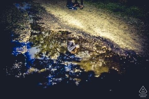 Liguria reflection in water wedding engagement photos for La Spezia couples