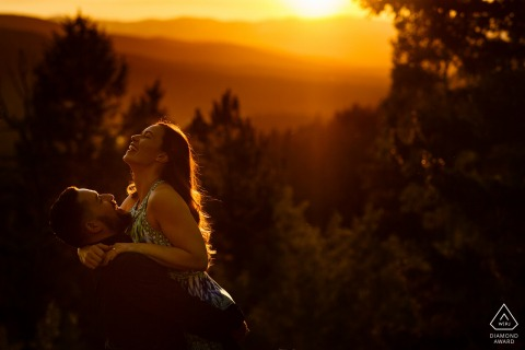 Engagement portraits at sunset at Golden Gate Canyon State Park.