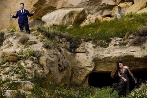 Turkije Pre-Wedding Photography-sessie bij een kasteel uit de middeleeuwen