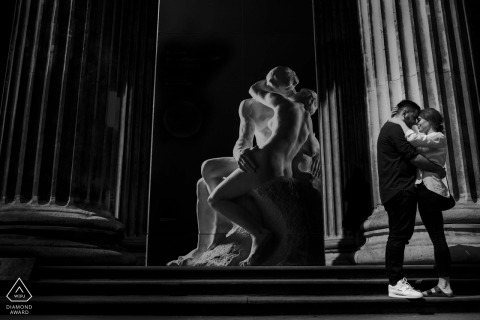 London Pre-Wedding Photography with statues at British Museum