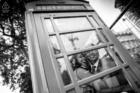 UK wedding engagement pictures in a phone booth by Bedfordshire, England photographer