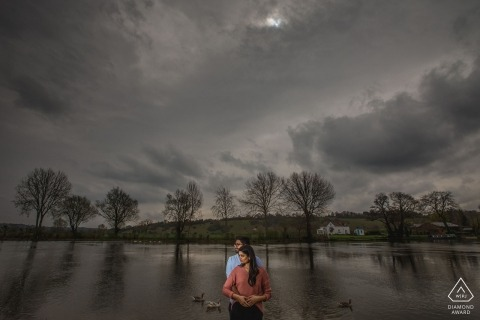 Muslim Pre Wedding Photography - Asian, Indian and Sikh wedding photographer - Portrait of an engaged couple by the river