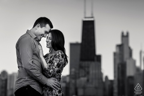 Engagement portrait session at North Ave. Beach, Chicago	Illinois