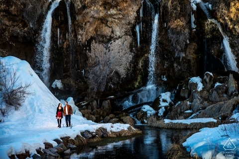 Rifle Falls Engagement Portrait in the Snow | Colorado Wedding Photographers