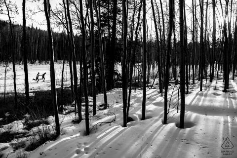Séance de portrait d'engagement dans la passe de Kenosha dans les arbres et la neige | Photographie de mariage au Colorado