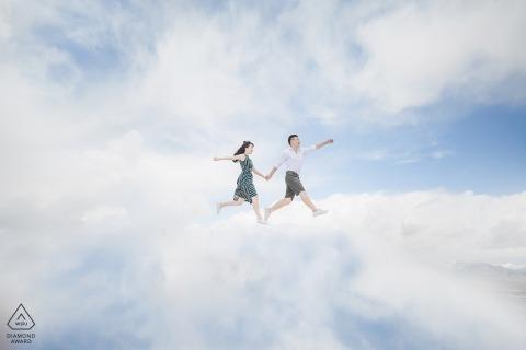在山東的雲彩前婚禮照片射擊