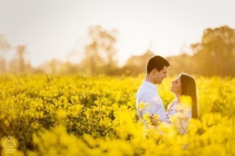 Brote de compromiso en Bridge, Kent, Reino Unido con altas flores amarillas y luz solar
