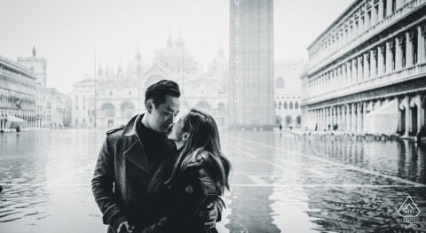 venice engagement shooting with High Water couple in black and white