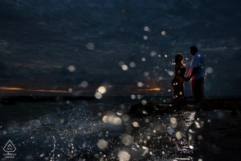 Florida Key West | Splash Water at Night with Lit Couple