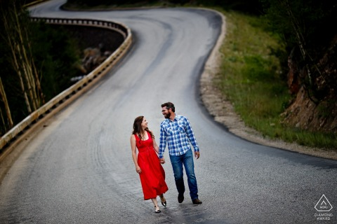Guanella Pass, Georgetown, CO Portraits   Walking couple celebrates their engagement in Georgetown