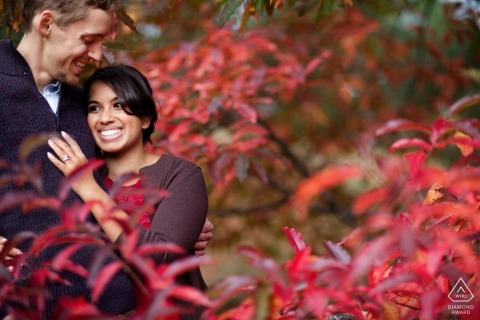 Boston, Massachusetts Engagement Photographer - Couple in red leaves