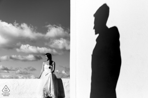 Pre Wedding Santorini Engagement Photo Session in Bright Sun
