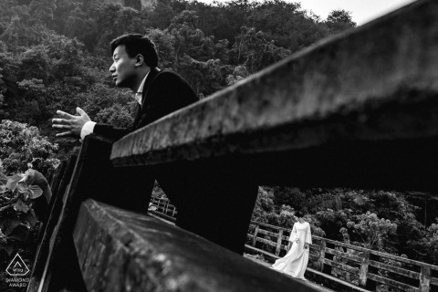 Pre Wedding Phuket Portraits on the bridge | Phuket Engagement Photographer