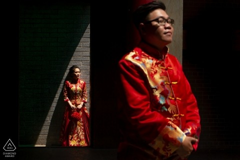 district 5 prewedding portrait in red | Engagement Photographer