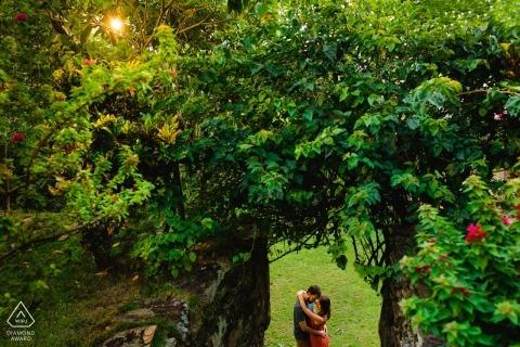 Brazil Ouro Preto pre wedding portrait in a tunnel of trees