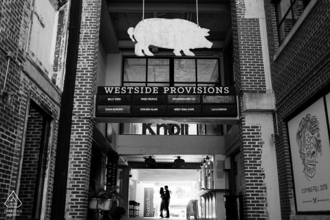 Westside Provisions, Atlanta, GA - Silhouette prewedding portrait at the shops.
