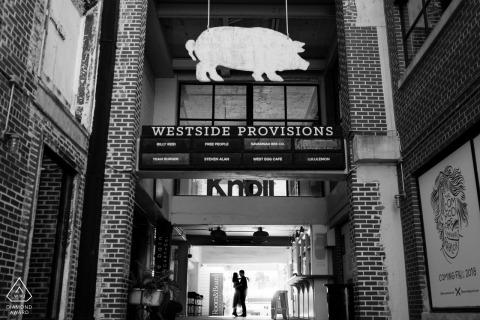 Westside Provisions, Atlanta, GA - Silhouette prewedding portrait at the shops.
