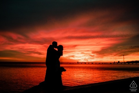 Higgs Beach, Key West, Florida sunset silhouette engagement photos with dog