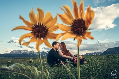 Waterton Lakes National Park, AB, Canada | Portraits of Couple in Field with Flowers