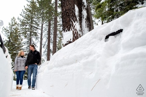 Portraits avant le mariage au lac Tahoe - Au plus profond de la neige