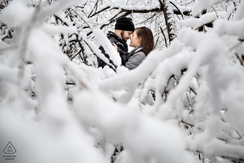 Wedding engagement shoot with Kansas couple |  Lenexa, KS Engaged couple after a beautiful snow storm