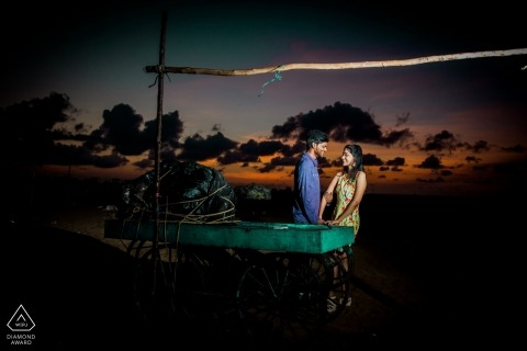 Pre-Dawn Romance - Boat portrait - Tamil Nadu Engagement Photographer